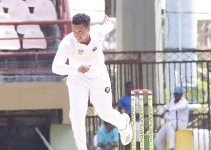 Nial Smith rushed at the Red Force batsmen to end with 5-7 (Romario Samaroo photo)
