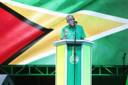 President David Granger speaking yesterday