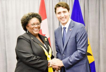Prime Minister Mia Amor Mottley and Canada's Prime Minister Justin Trudeau. (BGIS)