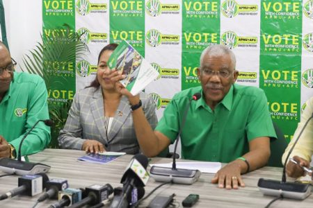 President David Granger addressing reporters at the launch of the APNU+AFC manifesto (Department of Public Information photo)