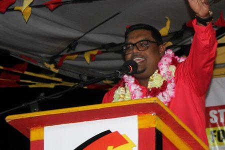 Irfaan Ali speaking at the meeting