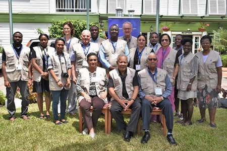 The Commonwealth team here to observe Monday's general elections. Seated at centre is team leader, former Barbados Prime Minister Owen Arthur. (Commonwealth Secretariat photo)