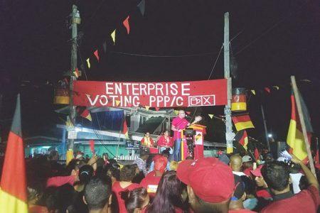 General Secretary Bharrat Jagdeo addressing the crowd at Enterprise on Monday night.