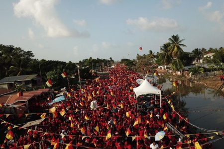 An overhead view of the crowd at the PPP's Stewartville rally yesterday afternoon. (PPP photo)