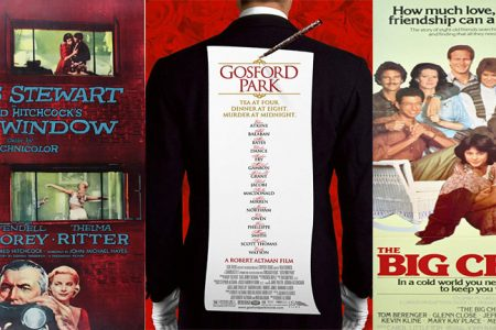 Posters for Rear Window, Gosford Park and The Big Chill