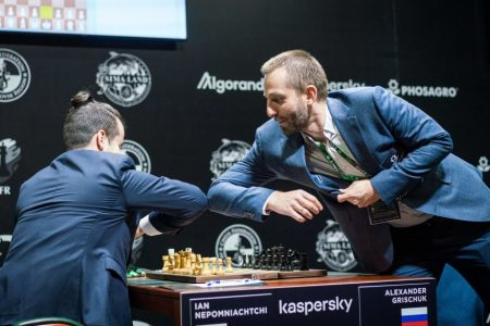 Elbow bump: The Covid-19 pandemic has altered the way we do things. This photo was taken at the 2020 FIDE Candidates Chess Tournament which is currently taking place in Russia. Grandmasters Ian Nepomniachtchi (left) and Alexander Grischuk both of Russia bump elbows replacing the mandatory handshake before and after a chess game. The Candidates Tournament will identify a player to challenge world champion Magnus Carlsen for the title. (Photo: Lennart Ootes/FIDE)