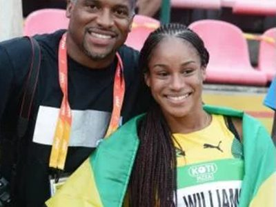 Brianna Williams and her coach Ato Boldon.
