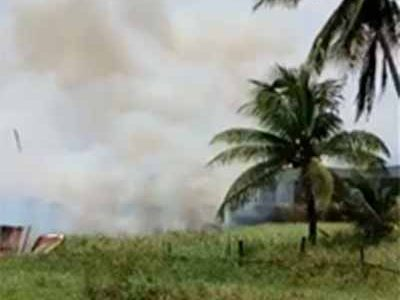 The Guyana Fire Service was yesterday morning summoned to Coldingen, East Coast Demerara to put out a bush fire which was allegedly set at the Guyana Elections Commission (GECOM) office there. A container with ballot boxes is being stored in the compound. It remains unclear whether the suspect was arrested.