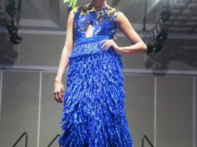 A model displaying a Wanza Designer piece at the last Strut Show.