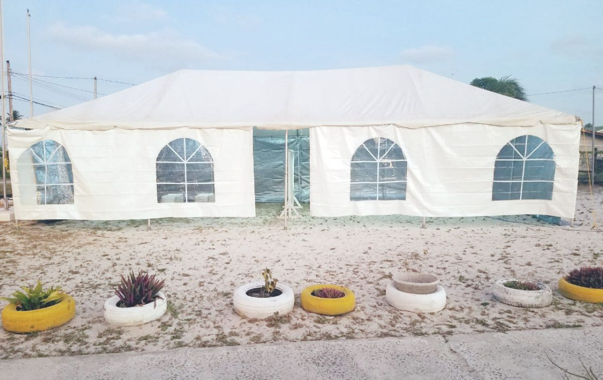 At the Mon Repos Market Tarmac, the Guyana Elections Commission has erected this tent to serve as a polling place for a total of 542 electors.