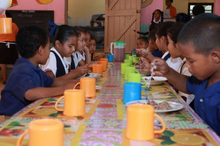 School children at Lethem 'lunching' courtesy of the local school feeding programme