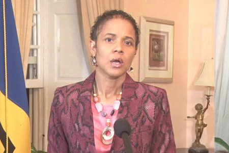 Acting Prime Minister Santia Bradshaw during her address to the nation.