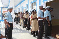 Members of the Guyana Police Force line up to cast their ballots on February 21. A total of 8,369 of the 10,226 ranks from the Guyana Defence Force (GDF), the Guyana Police Force and the Guyana Prison Service who were eligible to vote cast a ballot on that day.