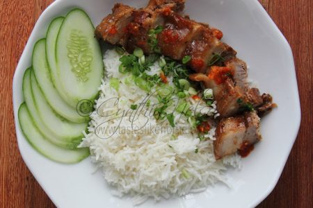 No recipe – Pork and Rice with Scallions (Photo by Cynthia Nelson)