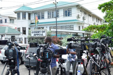 Cameras outside of the Court of Appeal (file photo)