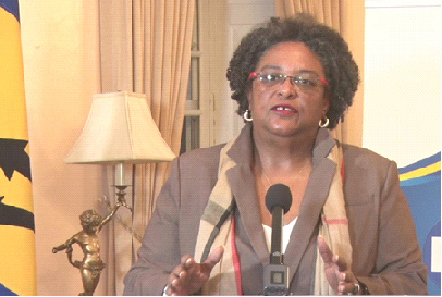 Prime Minister Mia Mottley addressing the nation from Ilaro Court on June 11, 2020. (GP)