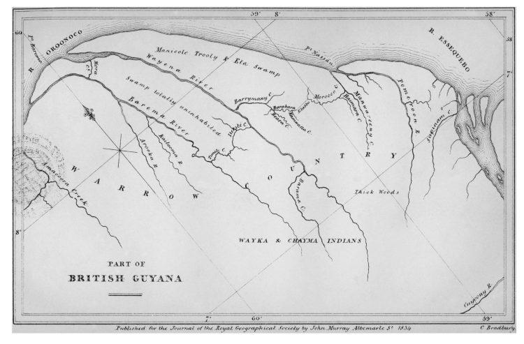 1834 map of northwestern Guyana showing territory inhabited by the Warrau people