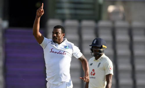 Shannon Gabriel celebrates bowling Ollie Pope on the fourth day of the opening Test here yesterday.