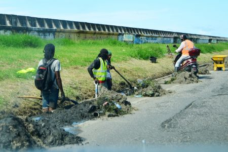 The drain along the seawall from Subryanville and further east was cleared of weeds and rubbish. Rain usually leads to flooding of the carriageway and the cleaning of the drains could likely alleviate this. (Orlando Charles photo)