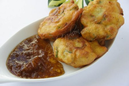Orange Marmalade and Mango Achar Dip with Okra Fritters (Photo by Cynthia Nelson)