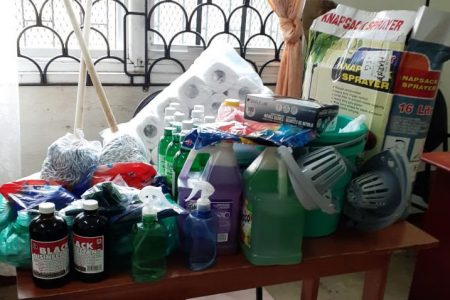 Kissoons donate cleaning supplies, meals to Society for the Blind: Following a request for help, the Guyana Society for the Blind (GSB) has received a donation of cleaning supplies from Tara Kissoon and the Kissoon family. Ganesh Singh, an executive member at the Society, told this newspaper that meals were also donated. Singh explained that the meals donated catered for a total of 50 persons while the supplies will be utilized for the purpose of sanitising the Society's facilities at High Street. He said the donation was highly appreciated for fulfilling a need that existed, especially with the increase of rainfall and resulting flooding of late. This newspaper had previously reported the GSB's appeal for supplies, including food, cleaning products and face masks, for distribution to the blind and other persons with disabilities who are in need of help during the current COVID-19 pandemic. Also reported was the constant flooding of their offices, whenever there is a heavy downpour due to the facilities and the road being at the same level and a buildup of waste that has not been picked up since March. Singh said the Society is continuing to seek donations. In photo are some of the supplies donated by the Kissoon family.
