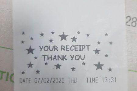A Play Whe receipt