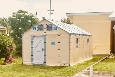 One of the prefab houses (Ministry of Public Health photo)