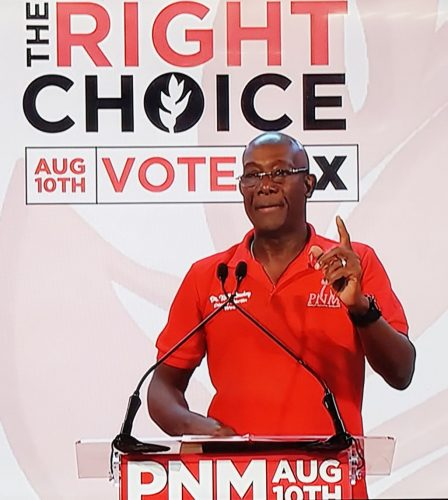 Prime Minister Dr Keith Rowley addressing supporters during the PM's Campaign Meeting in Diego Martin last night.
