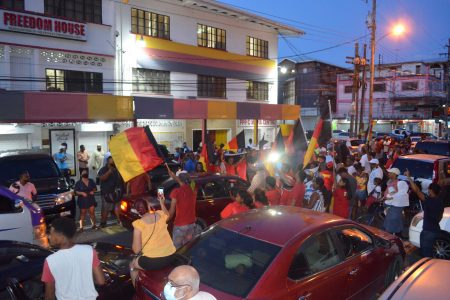 Supporters outside of the PPP's Headquarters (Freedom House) on Robb Street yesterday afternoon. (Orlando Charles Photo)