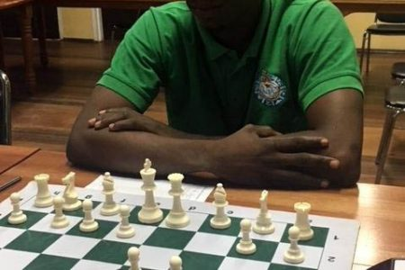 Guyana's top player at the 2020 FIDE Online Olympiad Wendell Meusa. Meusa shared the two top boards for Guyana and demonstrated he was an elite contender by winning all five of his games.