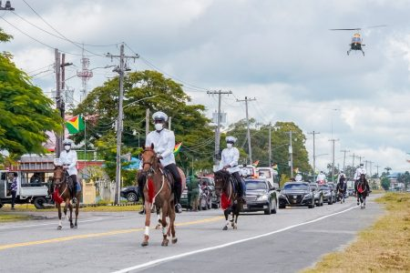 Arriving in style: New President Irfaan Ali and his wife First Lady Ayra Ali being escorted by the Joint Services to the inauguration ceremony at the National Cultural Centre. (Office of the President photo)