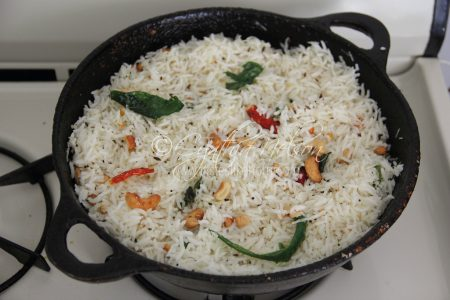 Indian-style Coconut Rice – I dish from one side of the pan (Photo by Cynthia Nelson)