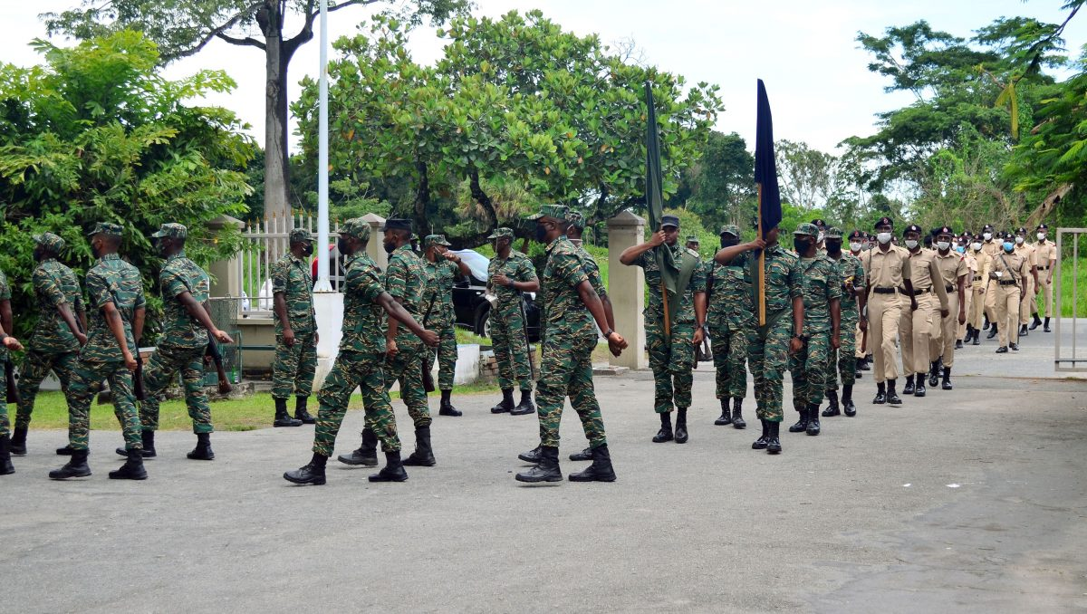 The Joint Services in rehearsal for the Guard of Honour parade