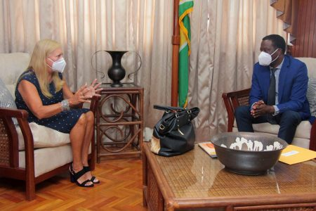 """Brazil Ambassador pays courtesy call on Foreign  Minister:  Brazil's Ambassador to Guyana, Maria Clara Duclos Carisio (left) yesterday congratulated Minister of Foreign Affairs and International Cooperation, Hugh Todd, on his recent appointment. According to a release from the Ministry, she said that the President of Brazil, Jair Bolsonaro, expressed interest in the ongoing dialogue between the two countries and, through that engagement, expanding the agenda on cooperation. Todd expressed his gratitude to the Ambassador for Brazil's continued support to, and cooperation with Guyana. He added, """"We look to Brazil's leadership in terms of protecting (Guyana's) territorial sovereignty and integrity."""" Brazil is traditionally seen as bulwark against Venezuelan aggression aimed at Guyana. (Ministry of Foreign Affairs photo)"""
