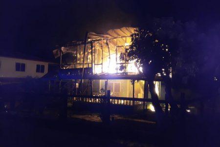 The house ablaze
