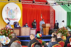 President Irfaan Ali addressing the National Assembly sitting in Paramaribo. (Office of the President photo)