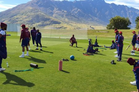 Some West Indies players going through their paces as they prepare to take on New Zealand in their upcoming T20 and Test series.