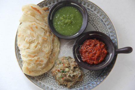 Roti with the usual - Choka(s) and Chutneys (Photo by Cynthia Nelson)