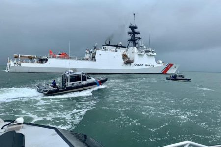 The USCG cutter Stone and a GDF vessel (US Embassy photo)