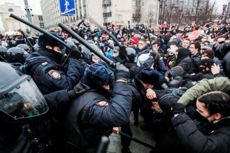 Protesters and police face off (Reuters photo)