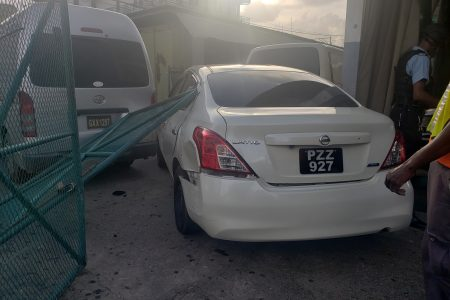 One of the cars that was involved in the collision