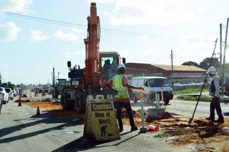 Massive road works underway on Sheriff Street on Wednesday.