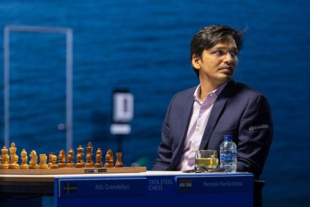 Grandmaster Pentala Harikrishna of India playing in the Tata Steel Masters Chess Tournament in the Netherlands (Photo: Jurriaan Hoefsmit)