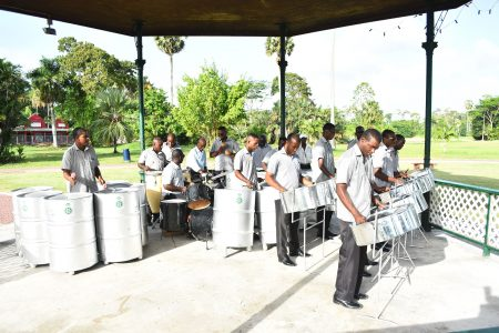 The Guyana Police Force Steel Band performing at the Botanical Gardens (Stabroek News file photo)