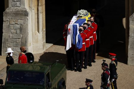 The coffin of Prince Philip, husband of Queen Elizabeth, who died at the age of 99, is carried during his funeral, on the grounds of Windsor Castle. (Adrian Dennis/Pool via REUTERS) The coffin of Prince Philip, husband of Queen Elizabeth, who died at the age of 99, is carried during his funeral, on the grounds of Windsor Castle. (Adrian Dennis/Pool via REUTERS)