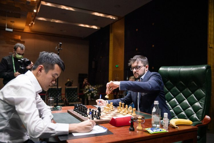 France's Maxime Vachier-Lagrave (right) and China's Ding Liren during their encounter at the 2020 Candidates Tournament (Photo: Maria Emelianova/Chess.com)