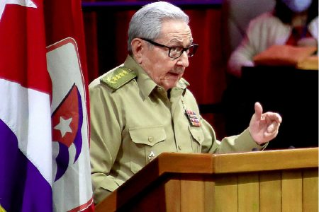 Picture released by Cuban News Agency (ACN) of Raul Castro speaking during the opening session of the 8th Congress of the Cuban Communist Party at the Convention Palace in Havana, on April 16, 2021. Photo by ARIEL LEY ROYERO /AFP via Getty Images
