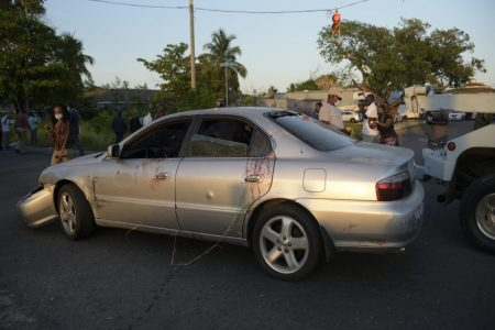 One of the cars at the scene