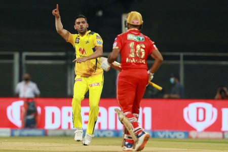 Deepak Chahar starred with the ball, scalping four wickets to set up Chennai Super Kings' win over Punjab Kings.(Photo courtesy IPL)