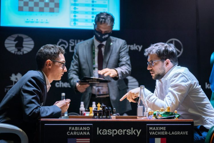 American Fabiano Caruana (left) following his enormous victory over France's Maxime Vachier-Lagrave in the World Championship Candidates Tournament on Monday. The endgame favoured Caruana. (Photo: Lennart Ootes)